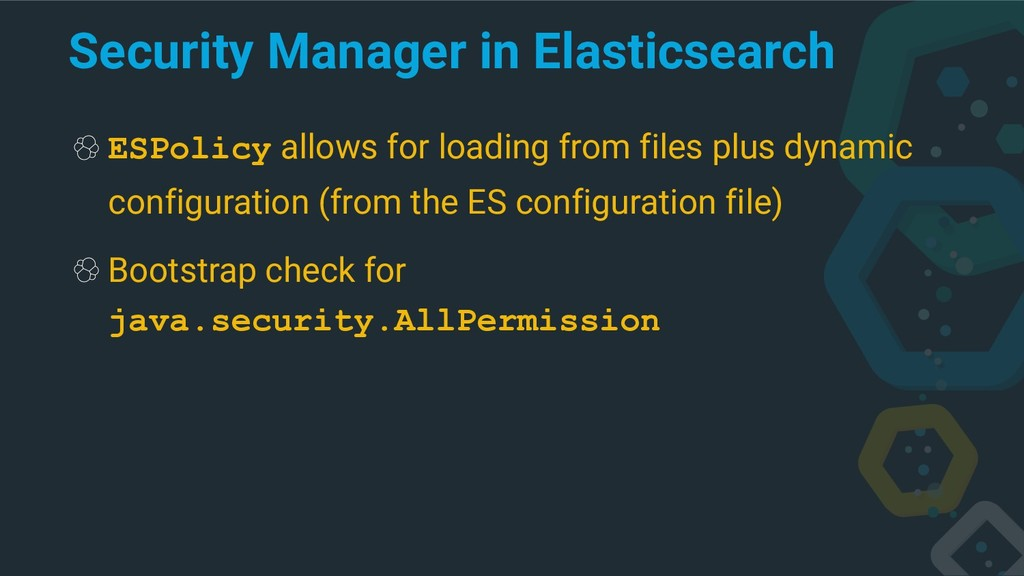 Security Manager in Elasticsearch ESPolicy allo...