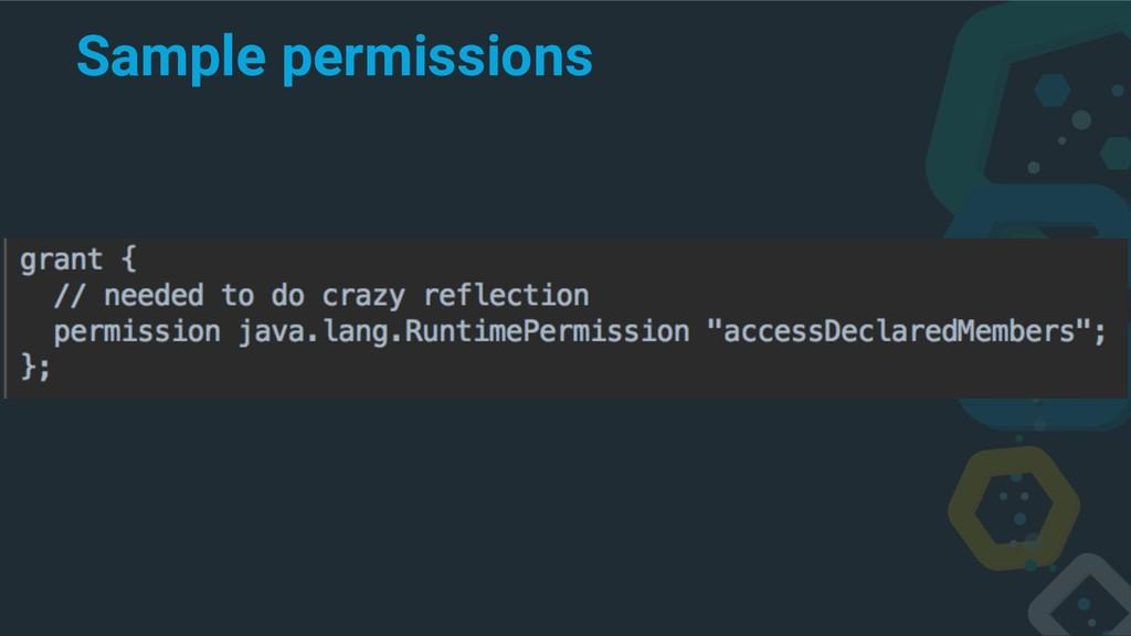 Sample permissions