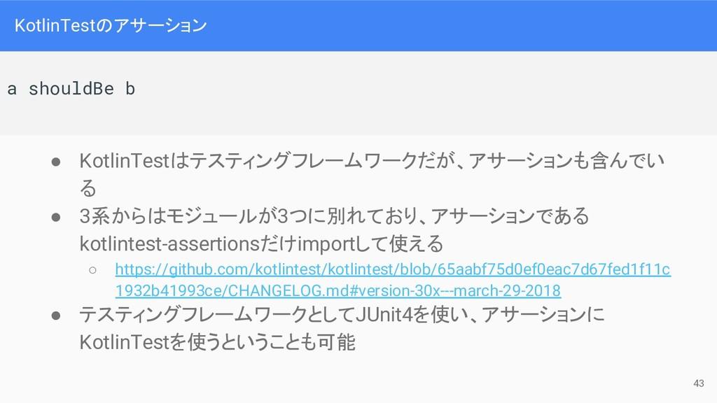 KotlinTestのアサーション ● KotlinTestはテスティングフレームワークだが、...