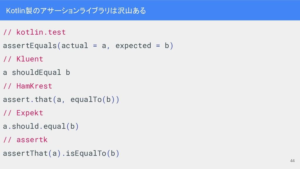 Kotlin製のアサーションライブラリは沢山ある // kotlin.test assertE...