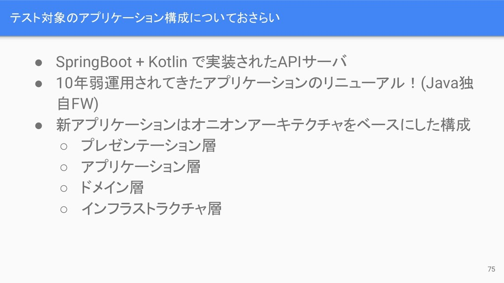 テスト対象のアプリケーション構成についておさらい ● SpringBoot + Kotlin ...