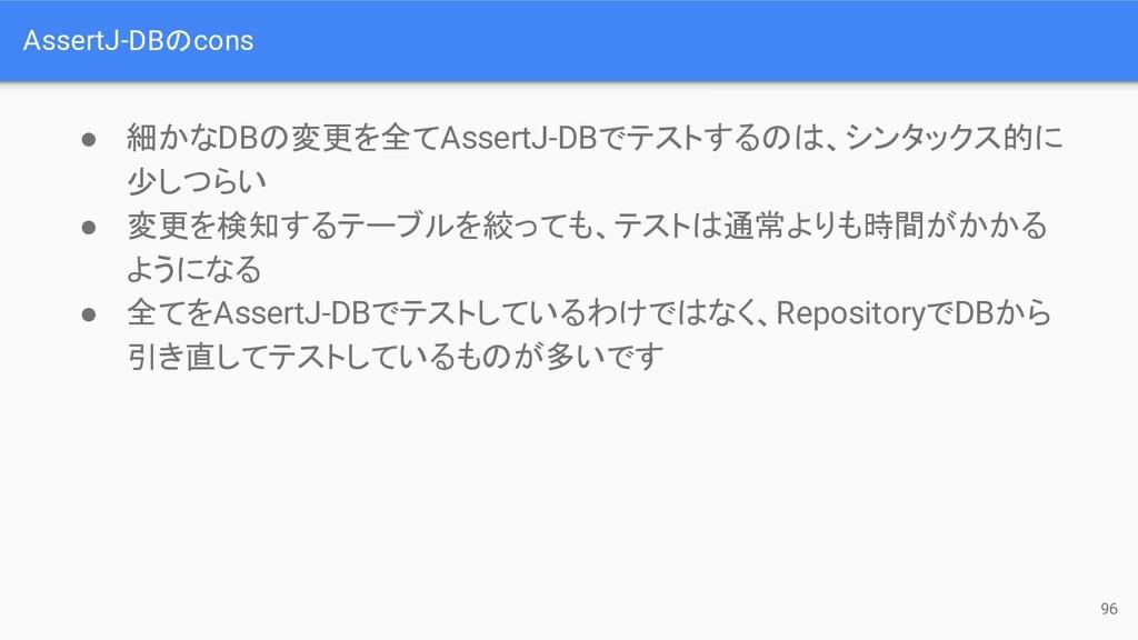AssertJ-DBのcons ● 細かなDBの変更を全てAssertJ-DBでテストするのは...