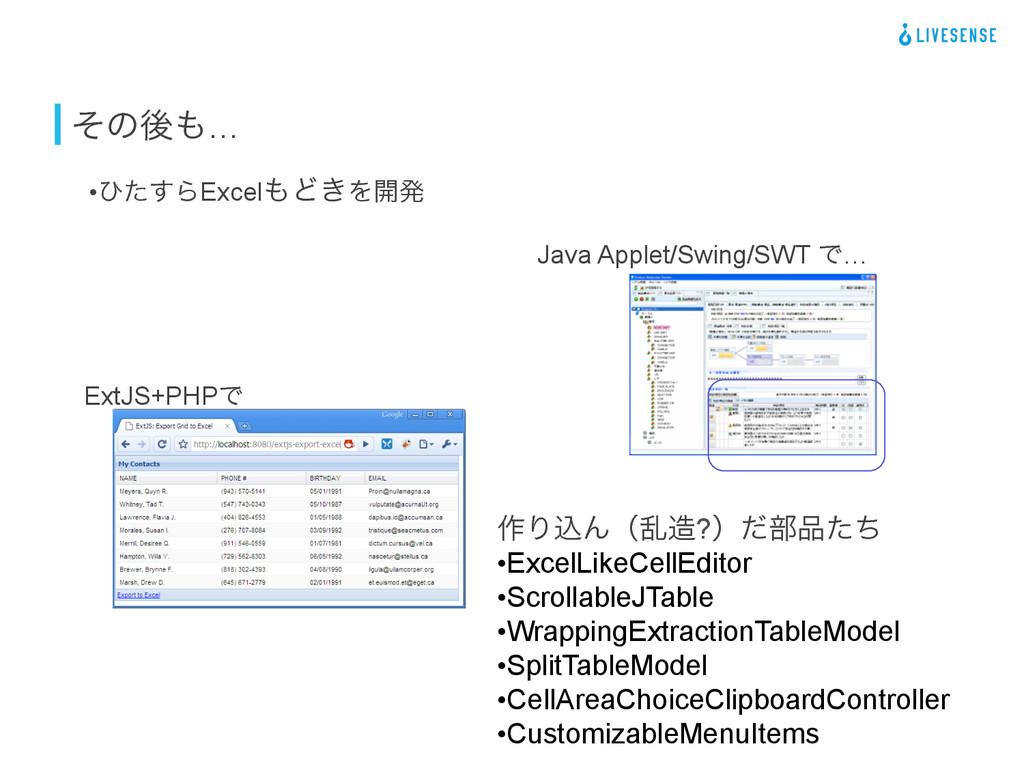 ͦͷޙ… •ͻͨ͢ΒExcelͲ͖Λ։ൃ Java Applet/Swing/SWT Ͱ...