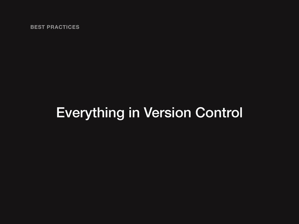 Everything in Version Control BEST PRACTICES