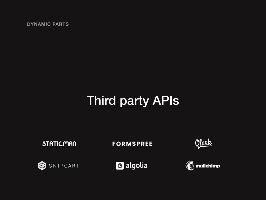 Third party APIs DYNAMIC PARTS