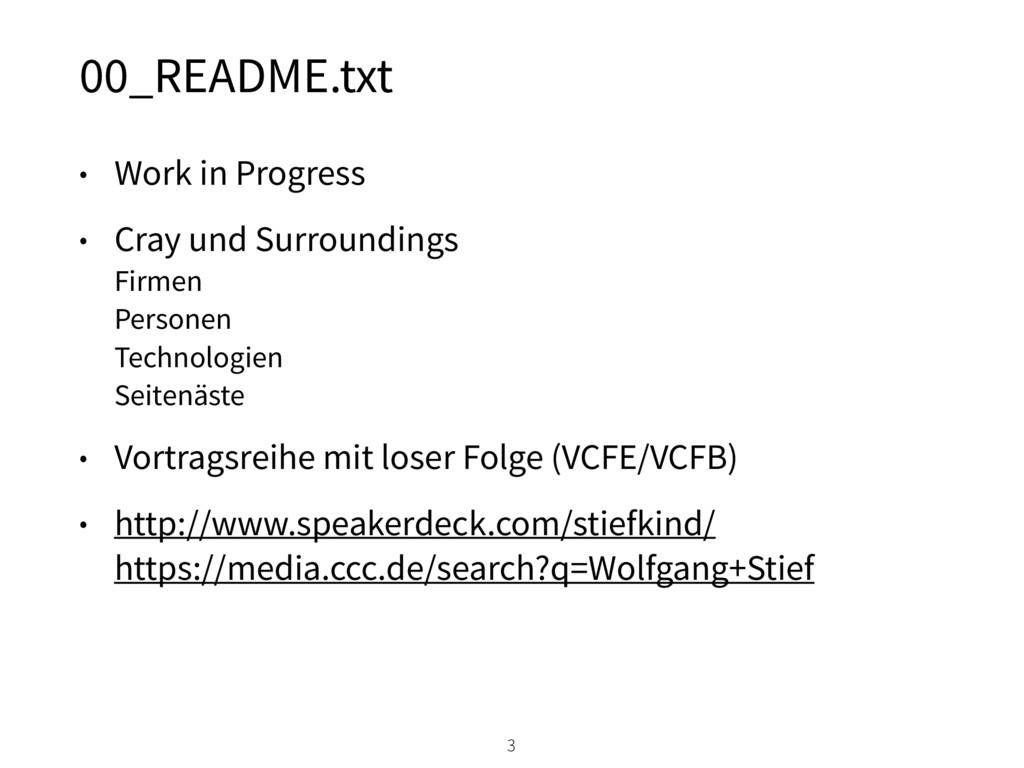 00_README.txt • Work in Progress • Cray und Sur...