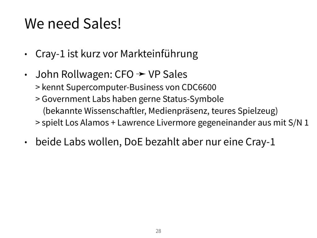 We need Sales! 28 • Cray-1 ist kurz vor Marktei...