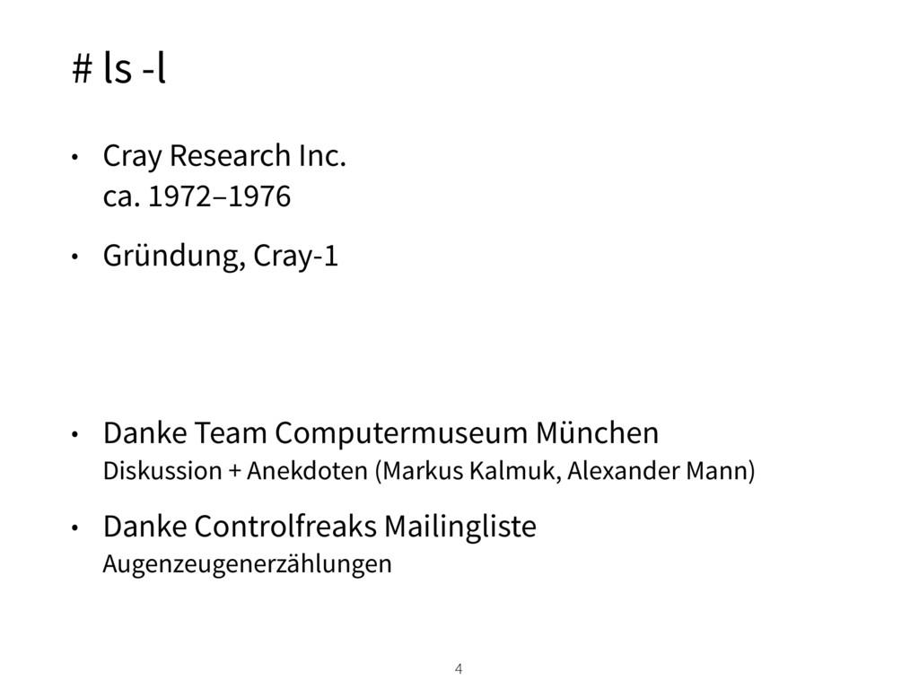 # ls -l • Cray Research Inc. ca. 1972–1976 • G...