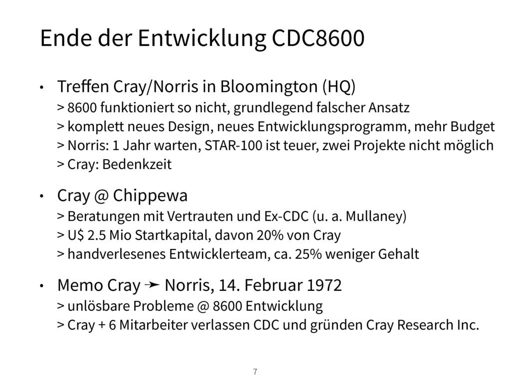 • Treffen Cray/Norris in Bloomington (HQ) > 860...