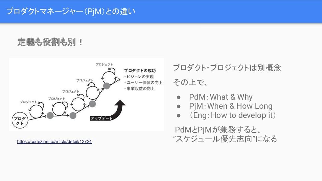 プロダクトマネージャー(PjM)との違い プロダクト・プロジェクトは別概念 その上で、 ● P...