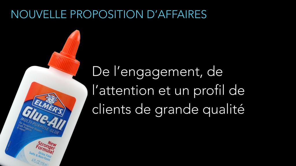 NOUVELLE PROPOSITION D'AFFAIRES De l'engagement...