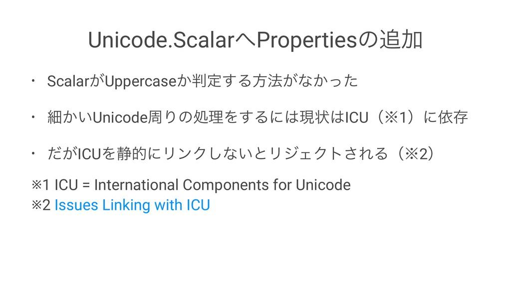 Unicode.ScalarPropertiesͷՃ • Scalar͕Uppercase...