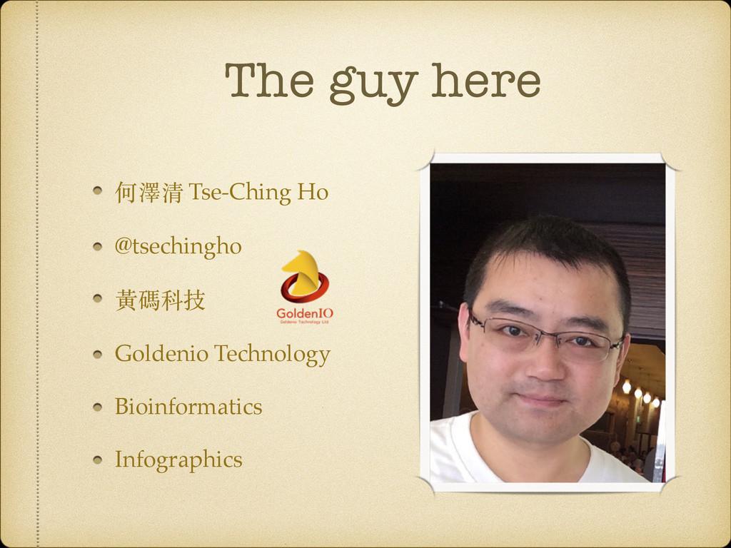 The guy here 何澤清 Tse-Ching Ho @tsechingho ⿈黃碼科技...