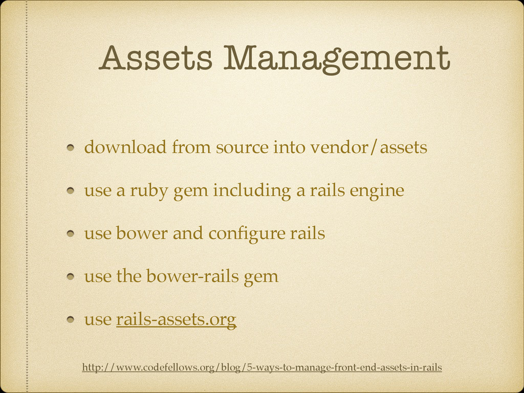Assets Management download from source into ven...