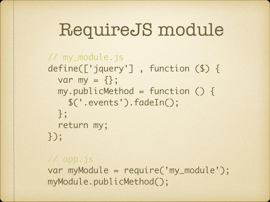 RequireJS module // my_module.js define(['jquer...