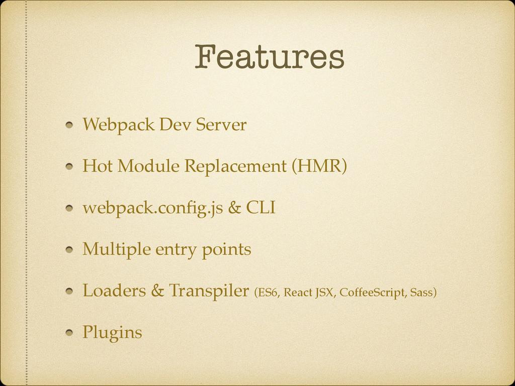 Features Webpack Dev Server Hot Module Replacem...