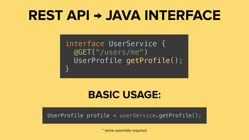REST API → JAVA INTERFACE interface UserService...