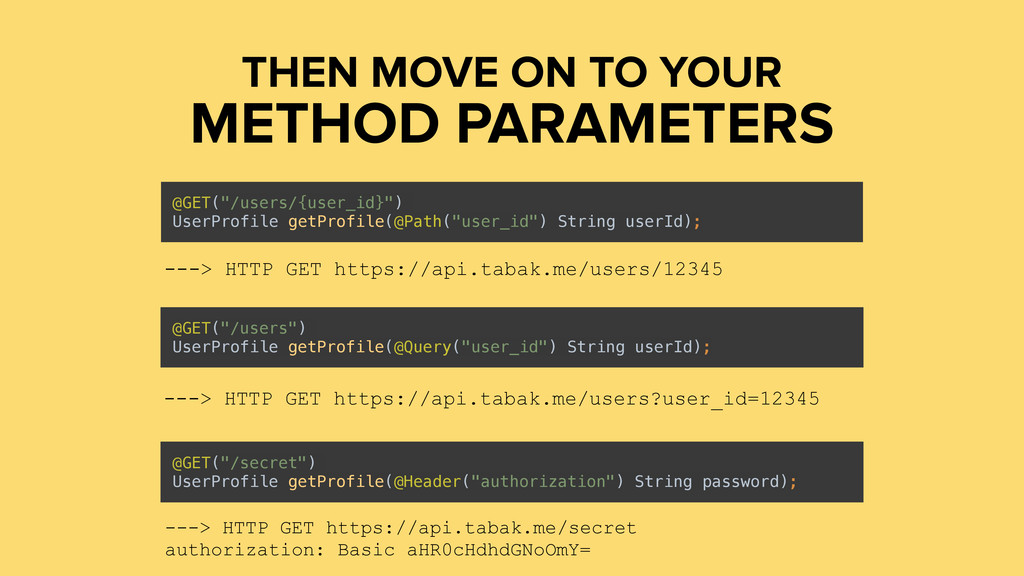 "METHOD PARAMETERS THEN MOVE ON TO YOUR @GET(""/u..."