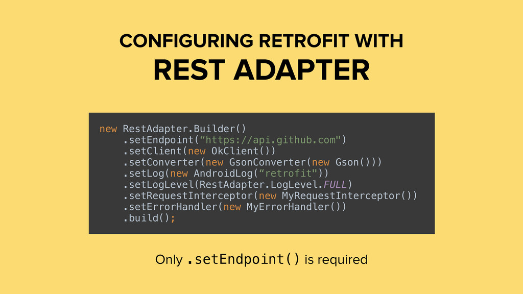 CONFIGURING RETROFIT WITH REST ADAPTER new Rest...