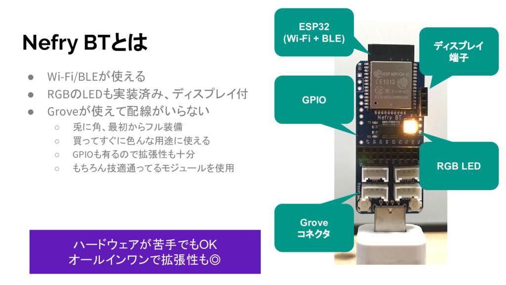 Nefry BTとは ● Wi-Fi/BLEが使える ● RGBのLEDも実装済み、ディスプレ...