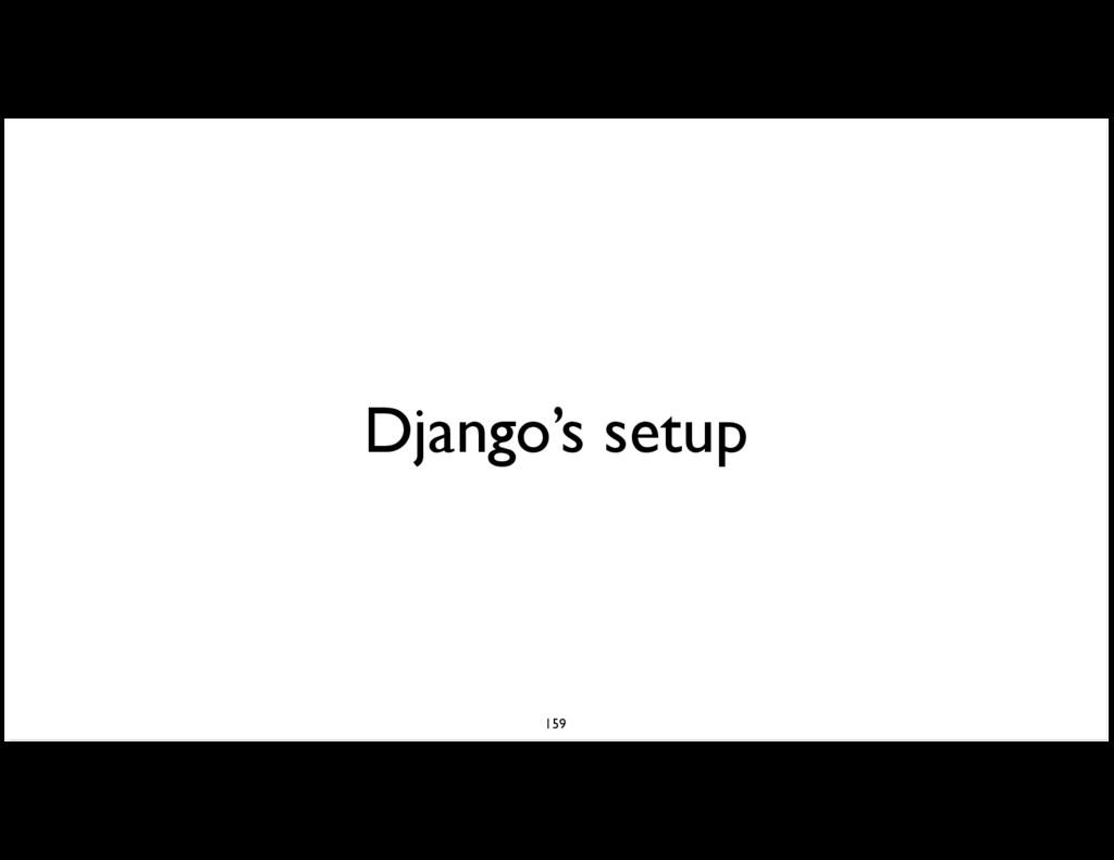 Django's setup 159