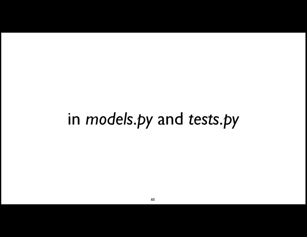 in models.py and tests.py 60