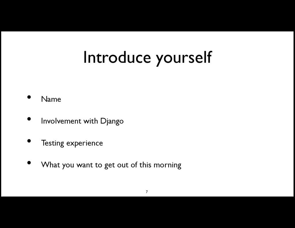 Introduce yourself Name Involvement with Django...