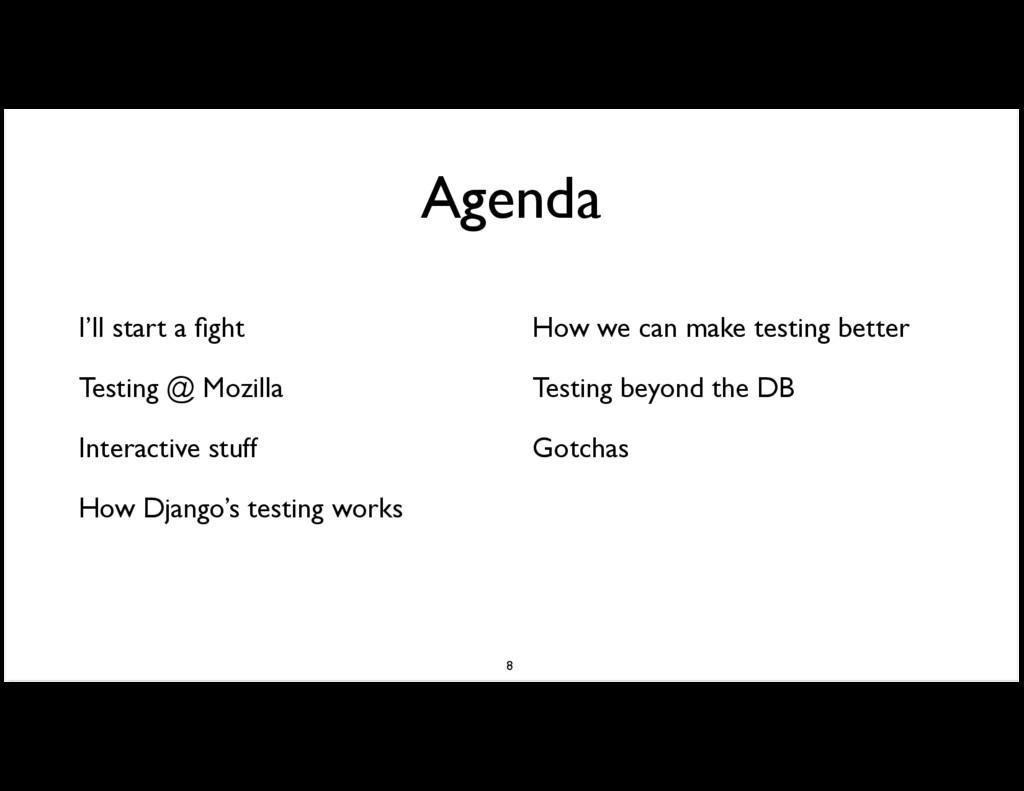 Agenda I'll start a fight Testing @ Mozilla Inte...