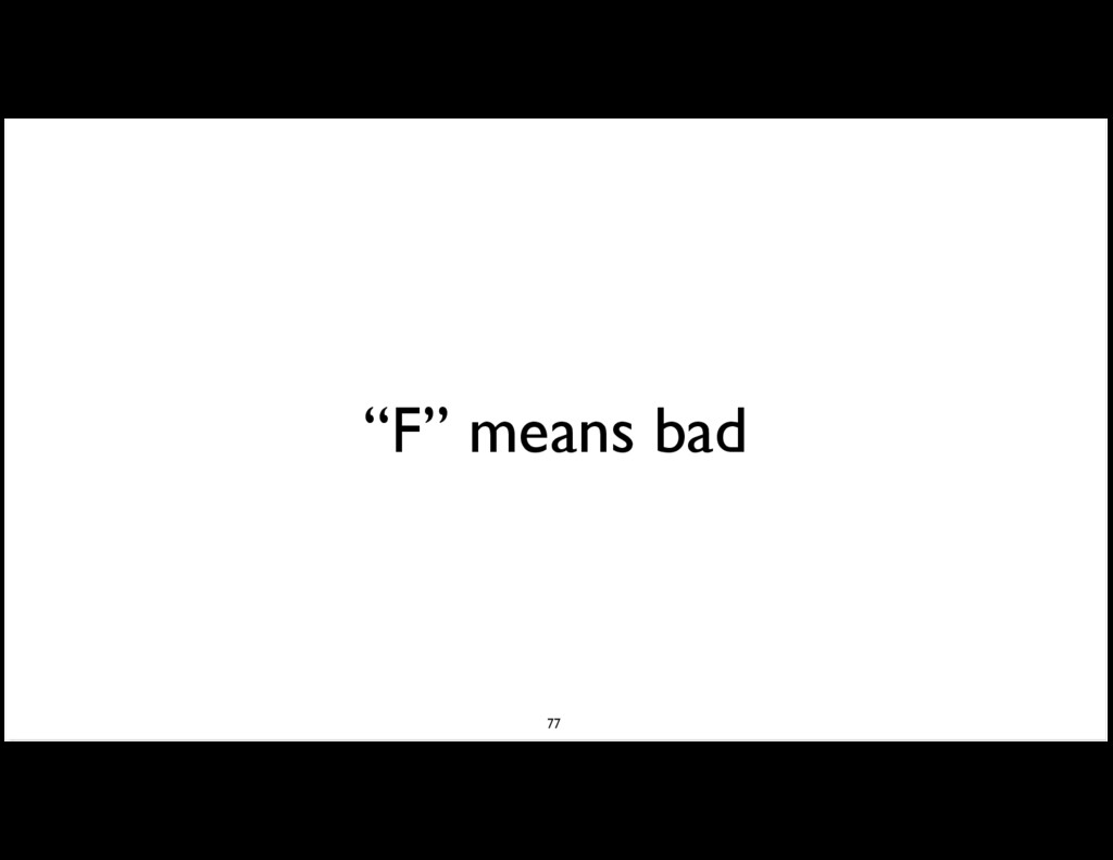 """""""F"""" means bad 77"""