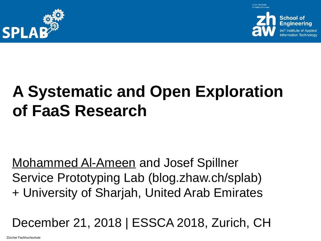 Zürcher Fachhochschule A Systematic and Open Ex...