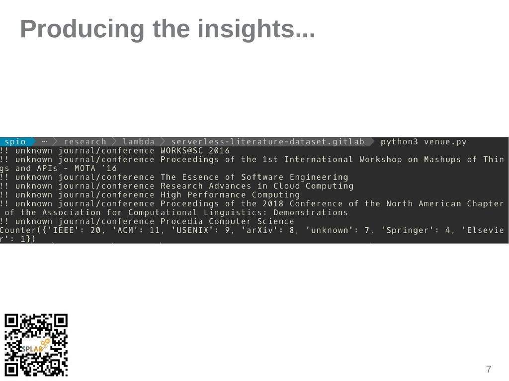 7 Producing the insights...