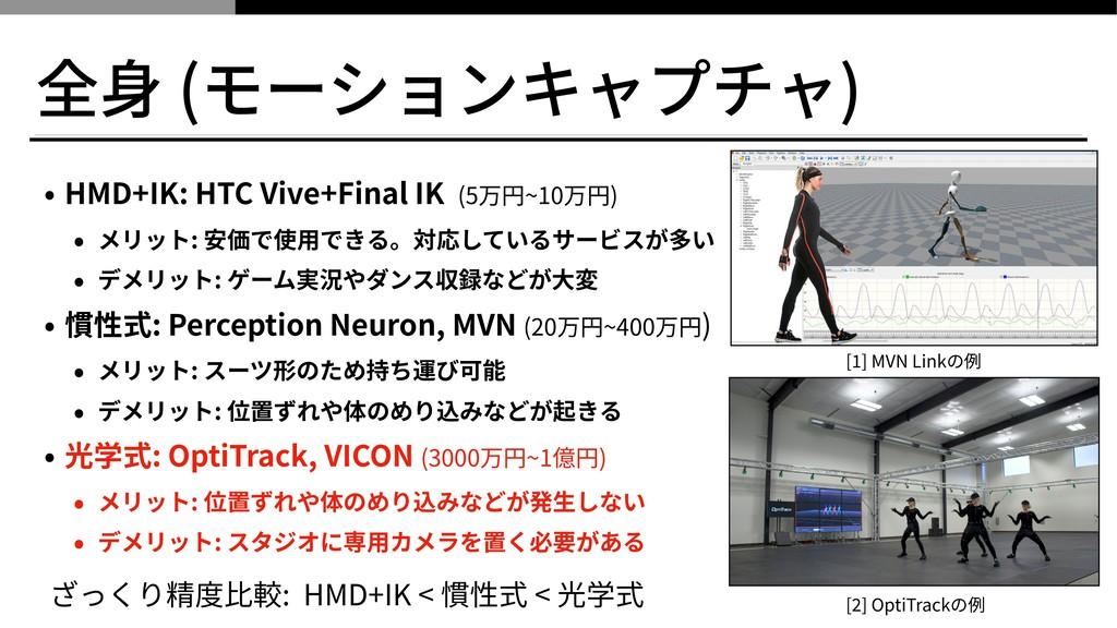 全⾝ (モーションキャプチャ) • HMD+IK: HTC Vive+Final IK (5万...