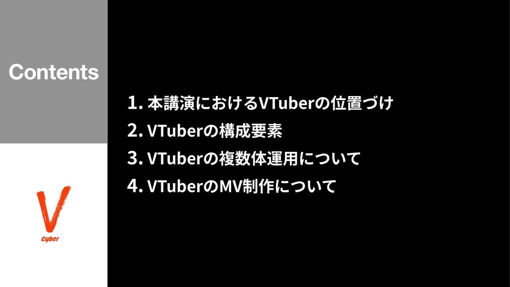 . 本講演におけるVTuberの位置づけ . VTuberの構成要素 . VTuberの複数体...