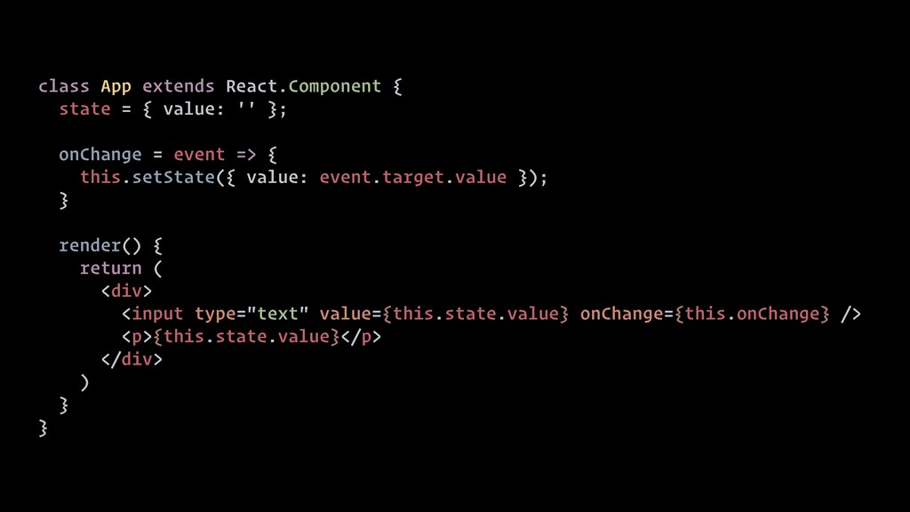 class App extends React.Component { state = { v...