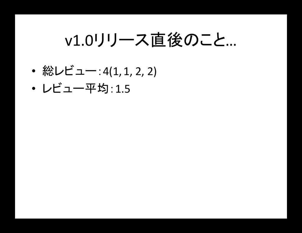 v1.0リリース直後のこと… • 総レビュー:4(1, 1, 2, 2) • レビュー平均:1...