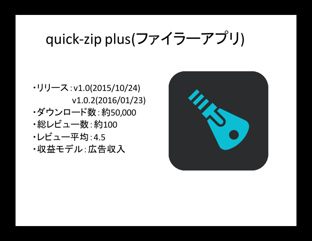 quick-zip plus(ファイラーアプリ) ・リリース:v1.0(2015/10/24)...