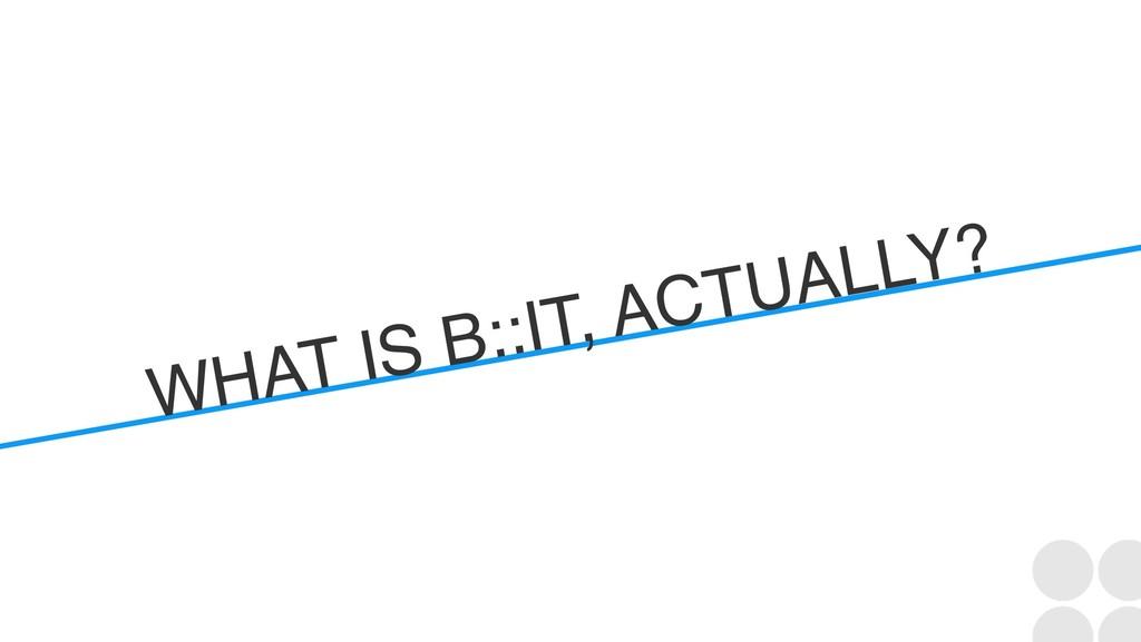 WHAT IS B::IT, ACTUALLY?