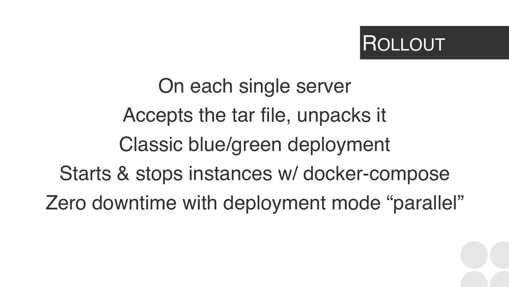 ROLLOUT On each single server Accepts the tar f...