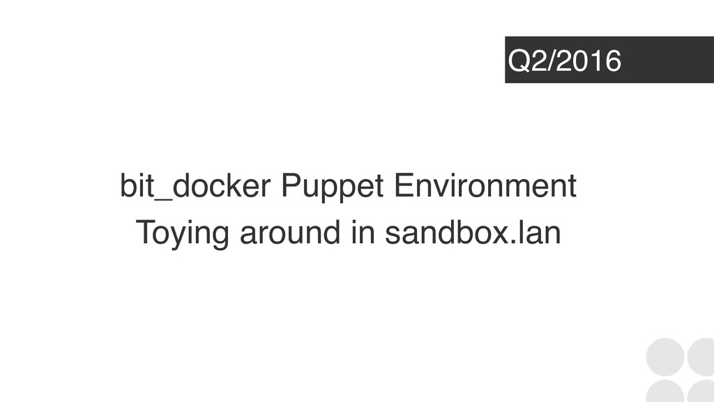 Q2/2016 bit_docker Puppet Environment Toying ar...