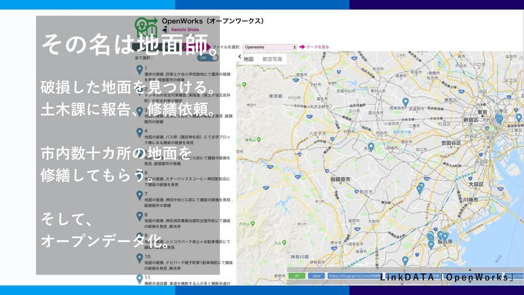 志田 健一 創立者 / 副理事 破損した地面を見つける。 土木課に報告、修繕依頼。 市内数十カ...