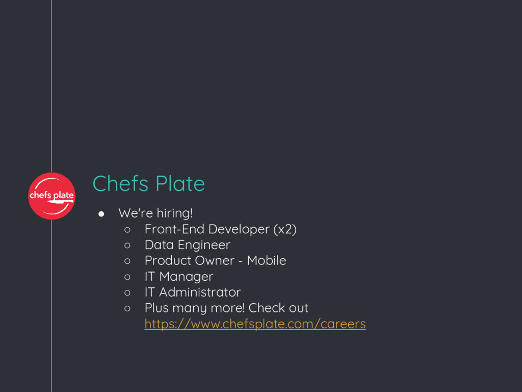 Chefs Plate ● We're hiring! ○ Front-End Develop...