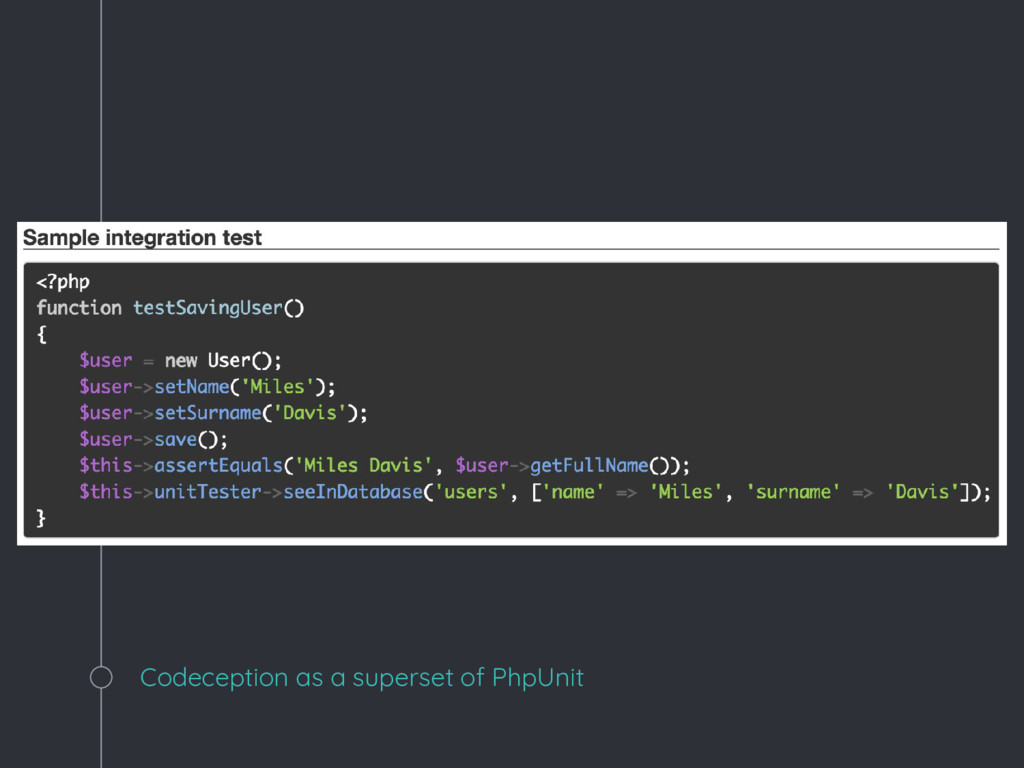 Codeception as a superset of PhpUnit