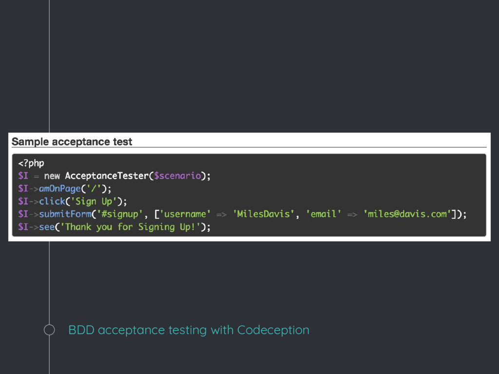 BDD acceptance testing with Codeception