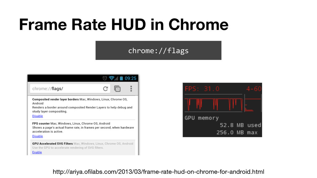 Frame Rate HUD in Chrome chrome://flags http://...
