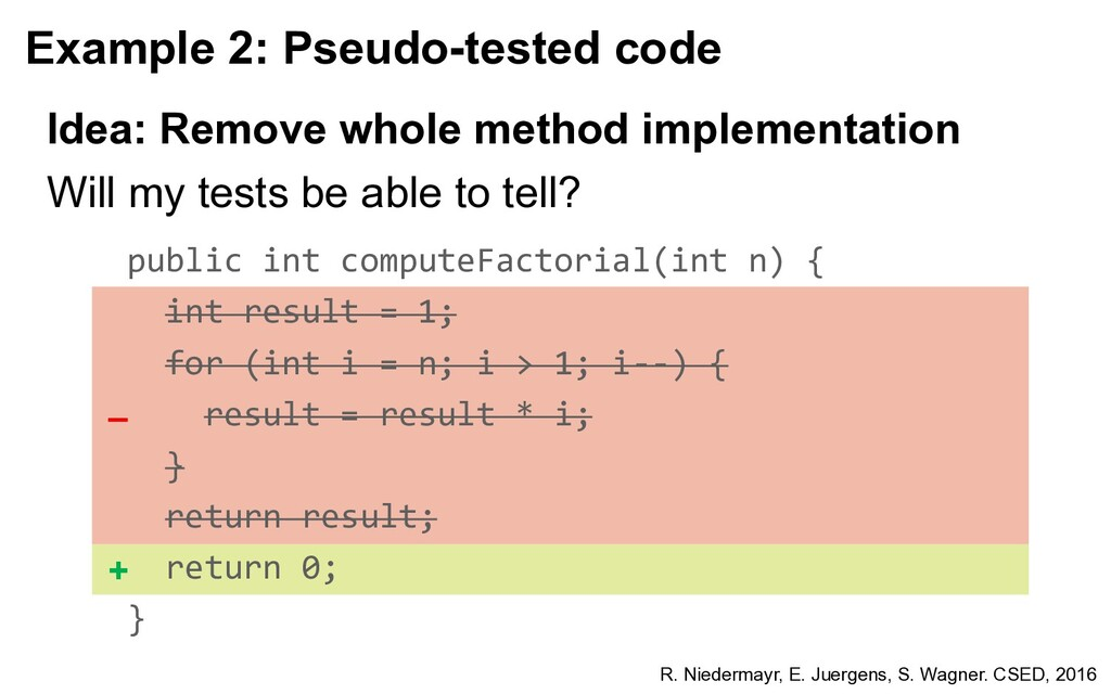 Example 2: Pseudo-tested code Will my tests be ...