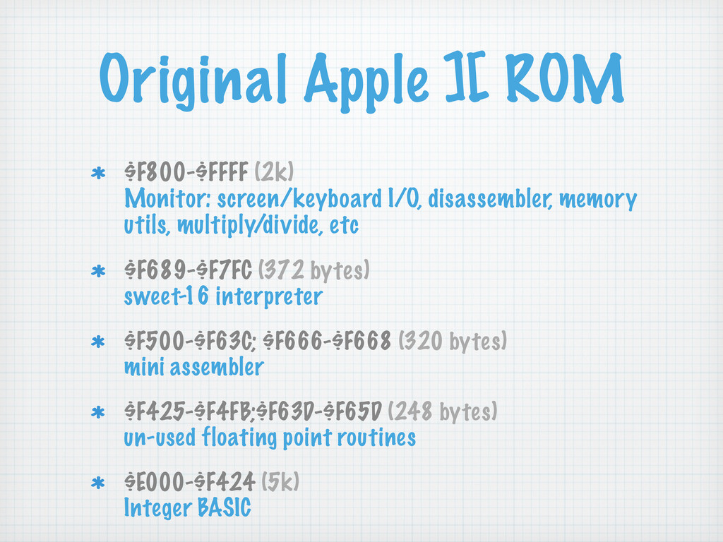 Original Apple ][ ROM $F800-$FFFF (2k) Monitor:...