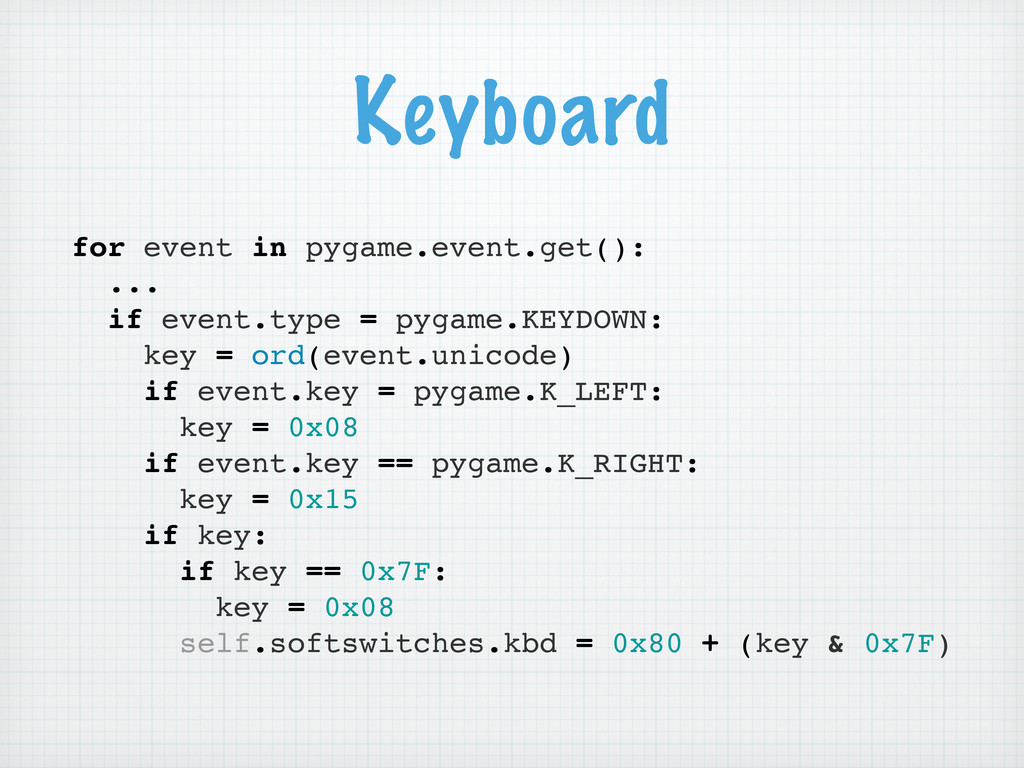 for event in pygame.event.get(): ... if event.t...