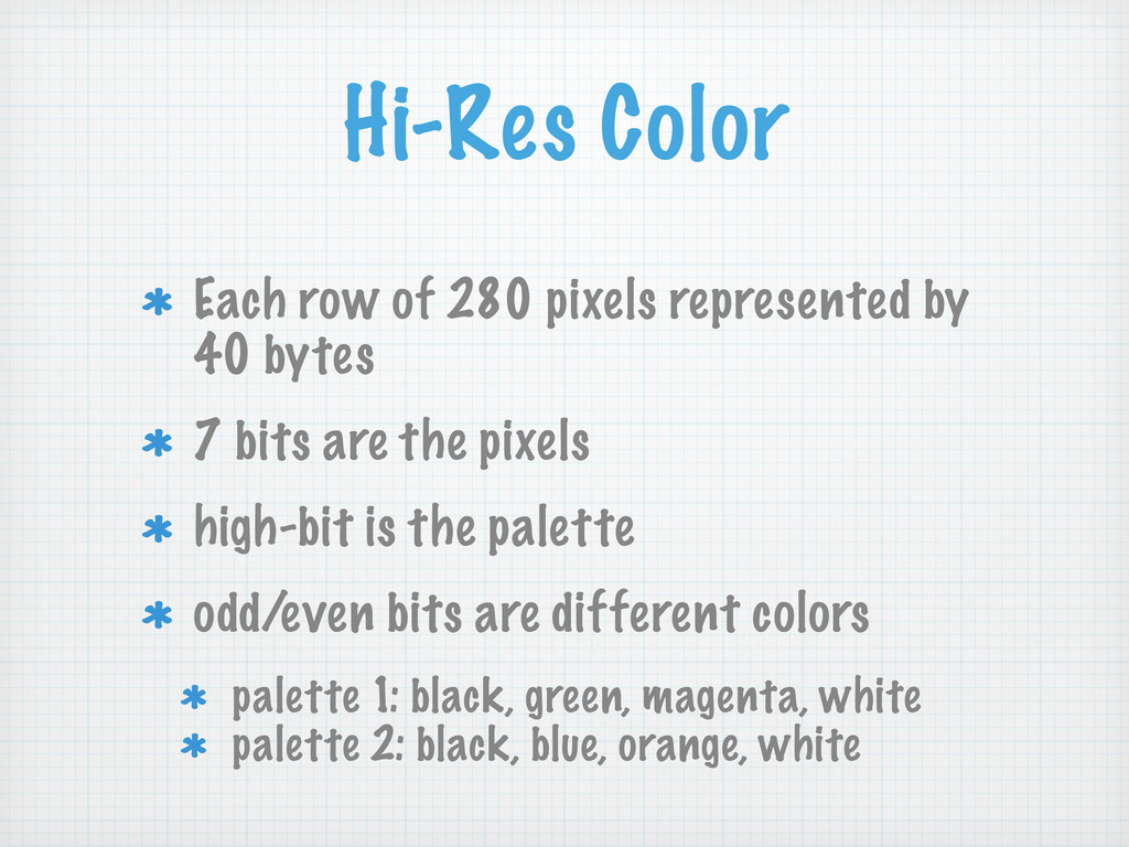 Hi-Res Color Each row of 280 pixels represented...