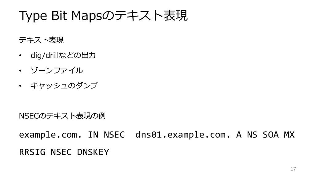 Type Bit Mapsのテキスト表現 テキスト表現 • dig/drillなどの出力 • ...