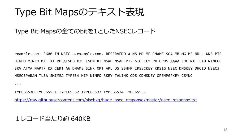 Type Bit Mapsの全てのbitを1としたNSECレコード example.com. ...